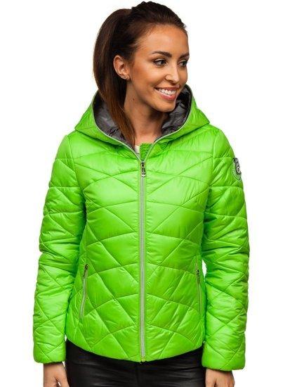 Zelená dámská prošívaná přechodová bunda s kapucí Bolf A5701