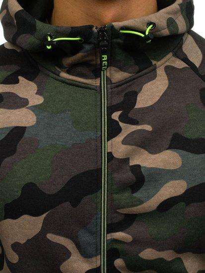 Zelená pánská maskáčová mikina na zip s kapucí Bolf W1379