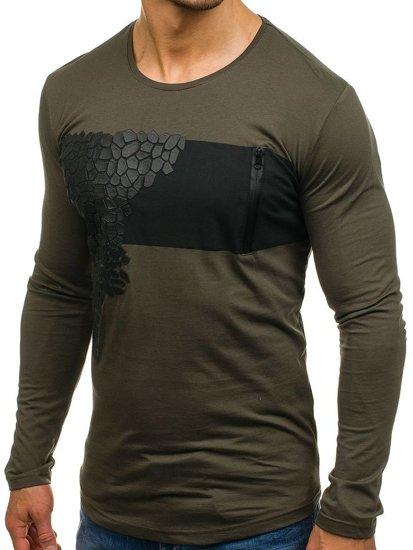 Zelené pánské tričko s dlouhým rukávem s potiskem Bolf 171333