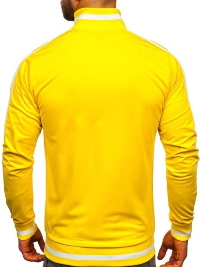 Žlutá pánská mikina na zip bez kapuce retro style Bolf 2123