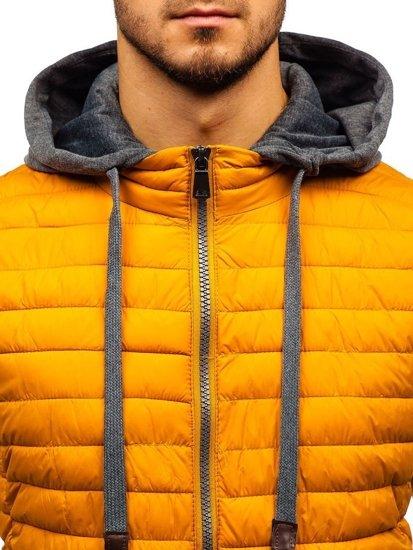 Žlutá pánská prošívaná vesta s kapucí Bolf 1252