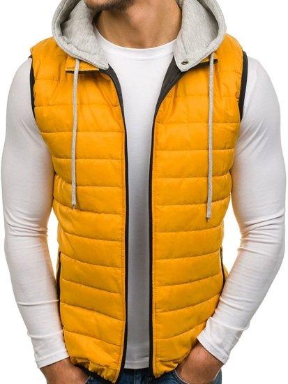 Žlutá pánská vesta s kapucí Bolf AK90