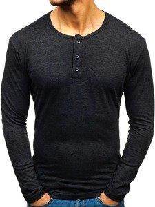 Antracitové pánské tričko henley s dlouhým rukávem Bolf 1114