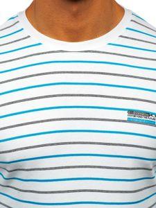 Bílé pánské proužkované tričko s dlouhým rukávem Bolf 1519