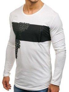 Bílé pánské tričko s dlouhým rukávem a potiskem Bolf 171333