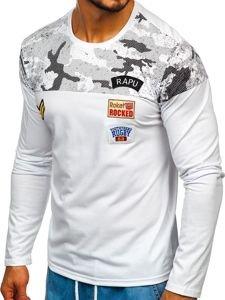 Bílé pánské tričko s dlouhým rukávem a potiskem Bolf SX025
