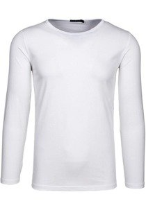 Bílé pánské tričko s dlouhým rukávem bez potisku Bolf 5549
