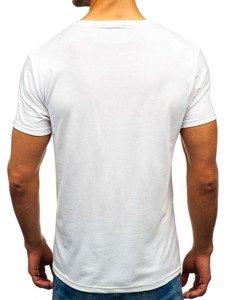 Bílé pánské tričko s potiskem Bolf 10828