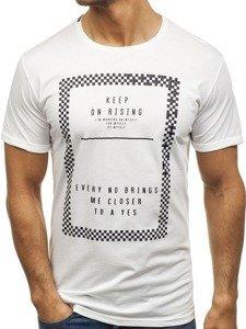 Bílé pánské tričko s potiskem Bolf 181168