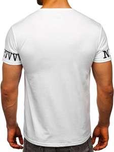 Bílé pánské tričko s potiskem Bolf SS11095