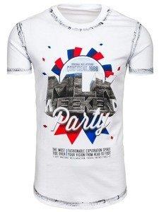 Bílé pánské tričko s potiskem Bolf s028