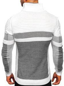 Bílý silný pánský svetr s vysokým límcem Bolf 1053