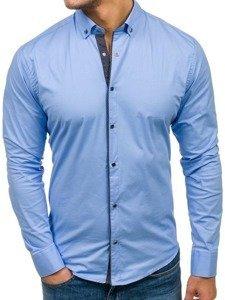 Blankytná pánská elegantní košile s dlouhým rukávem Bolf 7714