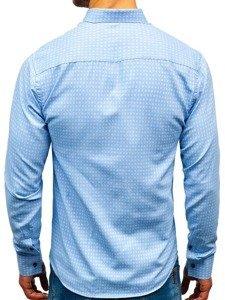 Blankytná pánská vzorovaná košile s dlouhým rukávem Bolf 8841