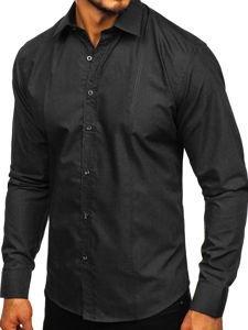 Černá pánská elegantní košile s dlouhým rukávem Bolf 4705G