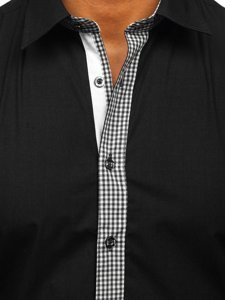 Černá pánská elegantní košile s dlouhým rukávem Bolf 6873