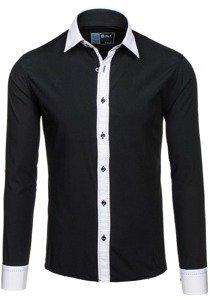 Černá pánská elegantní košile s dlouhým rukávem Bolf 6882