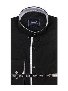 Černá pánská elegantní košile s dlouhým rukávem Bolf 7722
