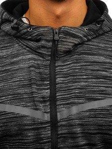 Černá pánská mikina na zip s kapucí Bolf AK75