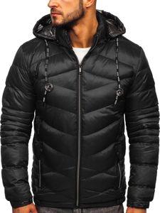 Černá pánská prošívaná sportovní zimní bunda Bolf 50A223