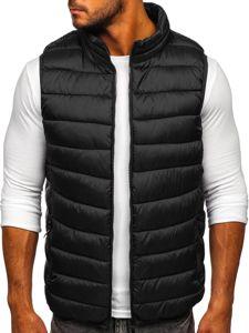 Černá pánská prošíváná vesta s kapucí Bolf B2901
