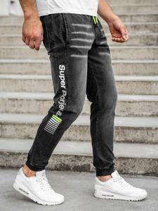 Černé pánské džínové jogger kalhoty Bolf KK1100