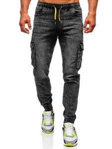 Černé pánské džínové jogger kapsáče Bolf HY686