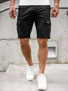 Černé pánské džínové kapsáčové kraťasy Bolf 6134