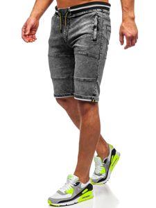 Černé pánské džínové kraťasy Bolf HY768