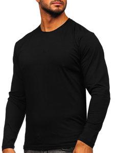 Černé pánské tričko s dlouhým rukávem bez potisku Bolf 1209