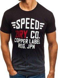 Černé pánské tričko s potiskem Bolf 0009