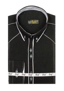 Černo-bílá pánská elegantní košile s dlouhým rukávem Bolf 4777
