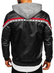 Černo-červená pánská koženková bunda s kapucí Bolf HY614