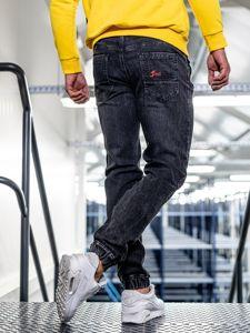 Černo-červené pánské džínové jogger kalhoty Bolf HY556