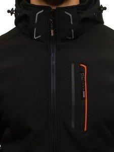 Černo-oranžová pánská softshellová přechodová bunda Bolf 6602