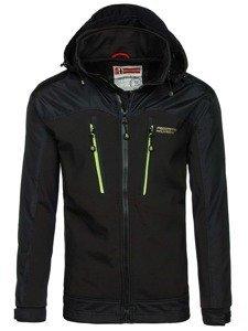 Černo-zelená pánská softshellová bunda Bolf 2345