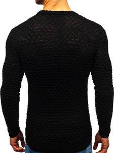 Černý pánský svetr s výstřihem do V Bolf 6005
