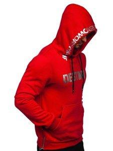 Červená pánská mikina s kapucí a potiskem Bolf 80660