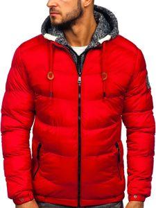 Červená pánská prošívaná sportovní zimní bunda Bolf 50A155