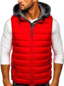 Červená pánská prošíváná vesta s kapucí Bolf B2901