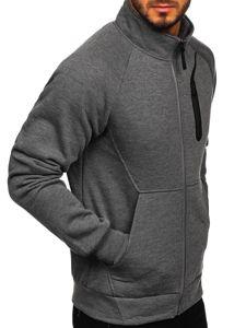 Grafitová pánská mikina na zip bez kapuce Bolf 80690