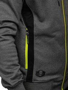 Grafitová pánská mikina na zip s kapucí Bolf 2086