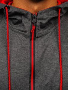 Grafitová pánská mikina na zip s kapucí Bolf DD20152