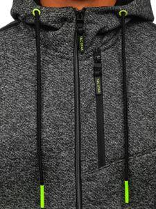 Grafitová pánská mikina na zip s kapucí Bolf TC507