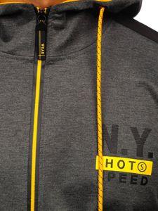 Grafitová pánská mikina na zip s kapucí a potiskem Bolf DD20155