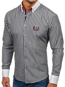 Grafitová pánská proužkovaná košile s dlouhým rukávem Bolf 1771