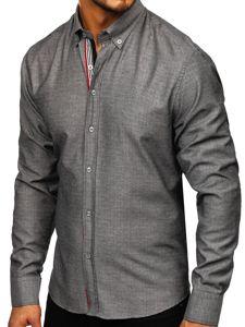 Grafitová pánská vzorovaná košile s dlouhým rukávem Bolf 8843