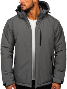 Grafitová pánská zimní lyžařská sportovní bunda Bolf HH011