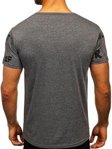 Grafitové pánské tričko s potiskem Bolf SS10926