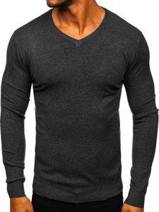 Grafitový pánský svetr s výstřihem do V Bolf YY03